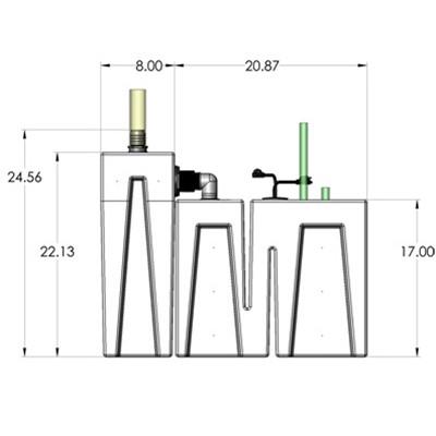 1SB-1B Seamless Sump Tub Configuration 3