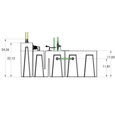 1SB-1BR-1RR Seamless Sump Tub Configuration 3