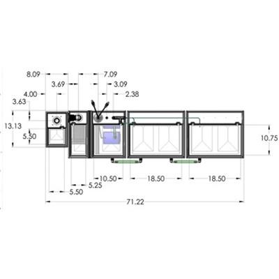 1SB-1BR-2RR Seamless Sump Tub Configuration 4