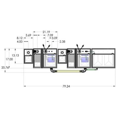 2SB-2BR-1RR Seamless Sump Tub Configuration 4