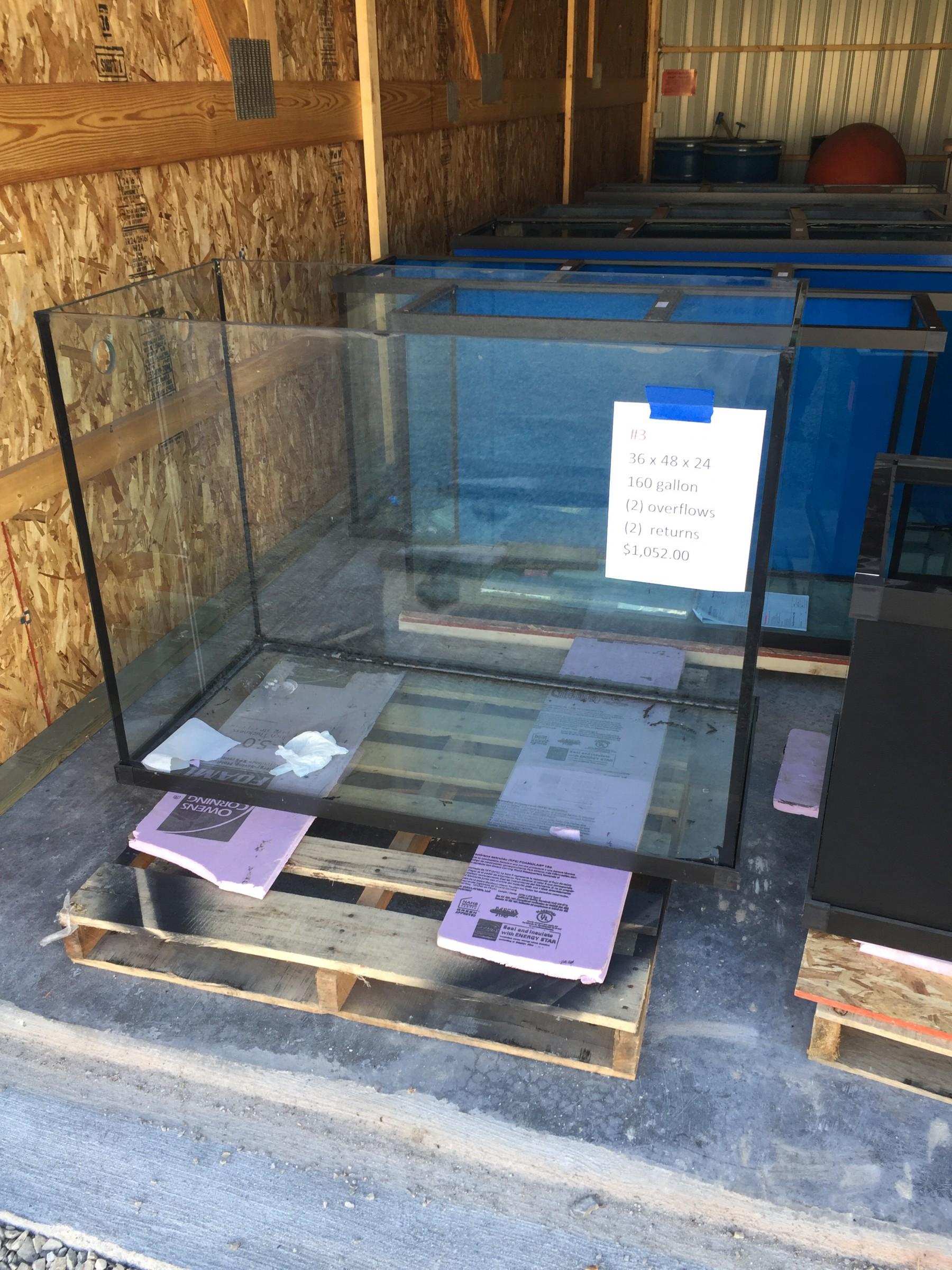 3 175 Gallon Glass Aquarium 36H X 48L X 24D - AS IS-Custom Aquariums-Scratch and Dent