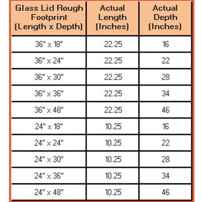"""36""""L x 48""""D Glass Aquarium Lid Chart"""