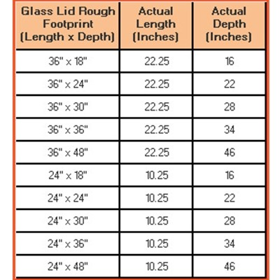 "24""L x 24""D Glass Aquarium Lid Chart"