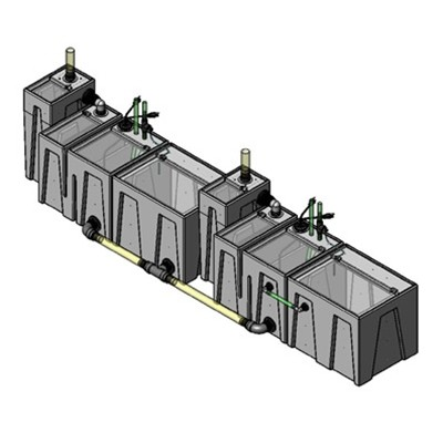 2SB-1BE-1BR-1RE-1RR Seamless Sump Tub Configuration 1