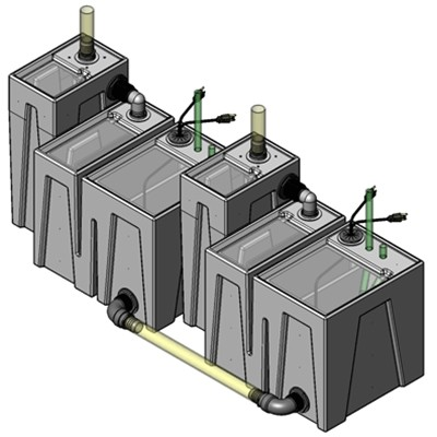 2SB-2B Seamless Sump Tub Configuration 1