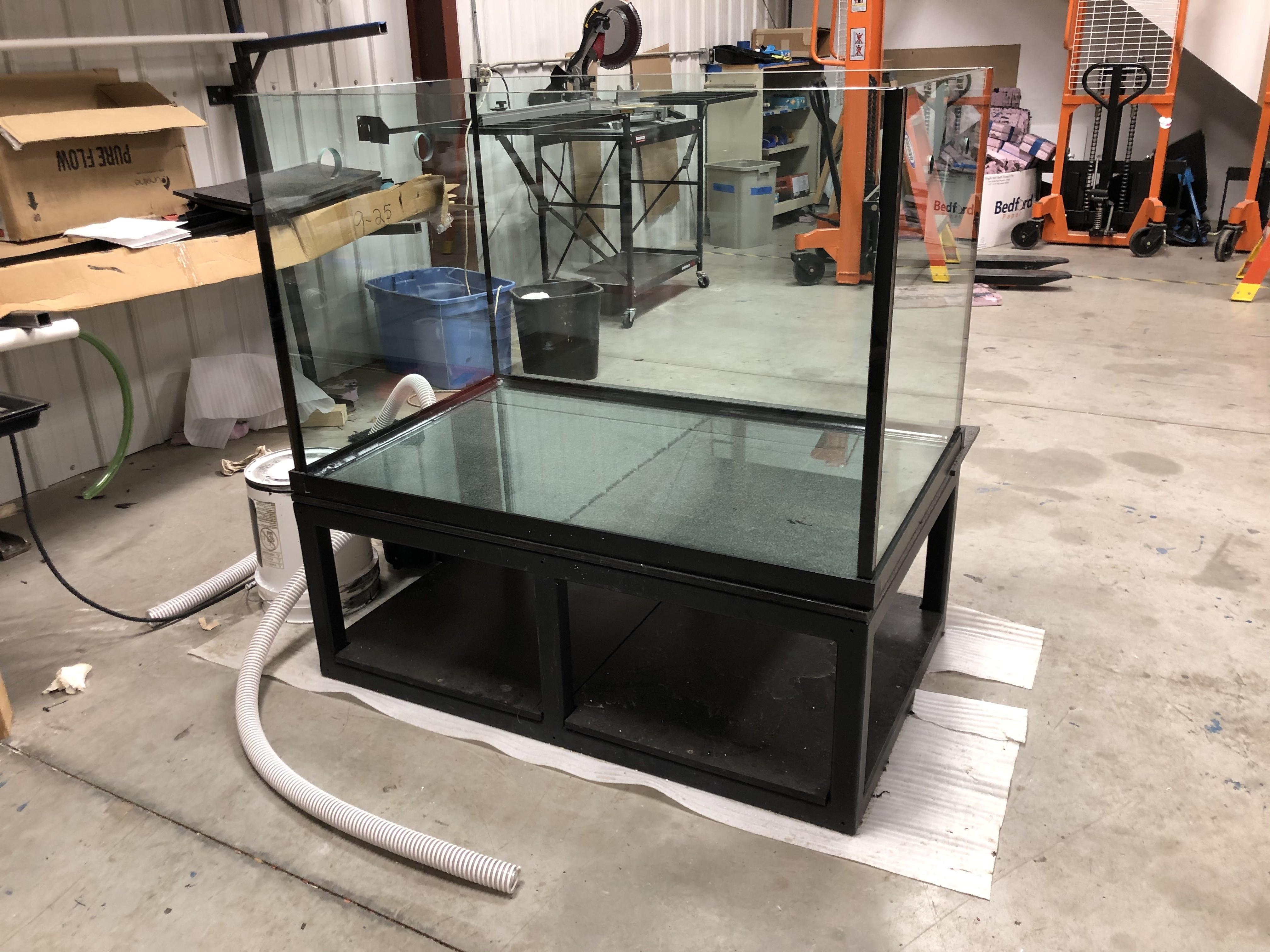 "#69 185 Gallon* Custom Size RIMLESS Aquarium: 30""Hx 48""Lx 30""W With Steel Stand"